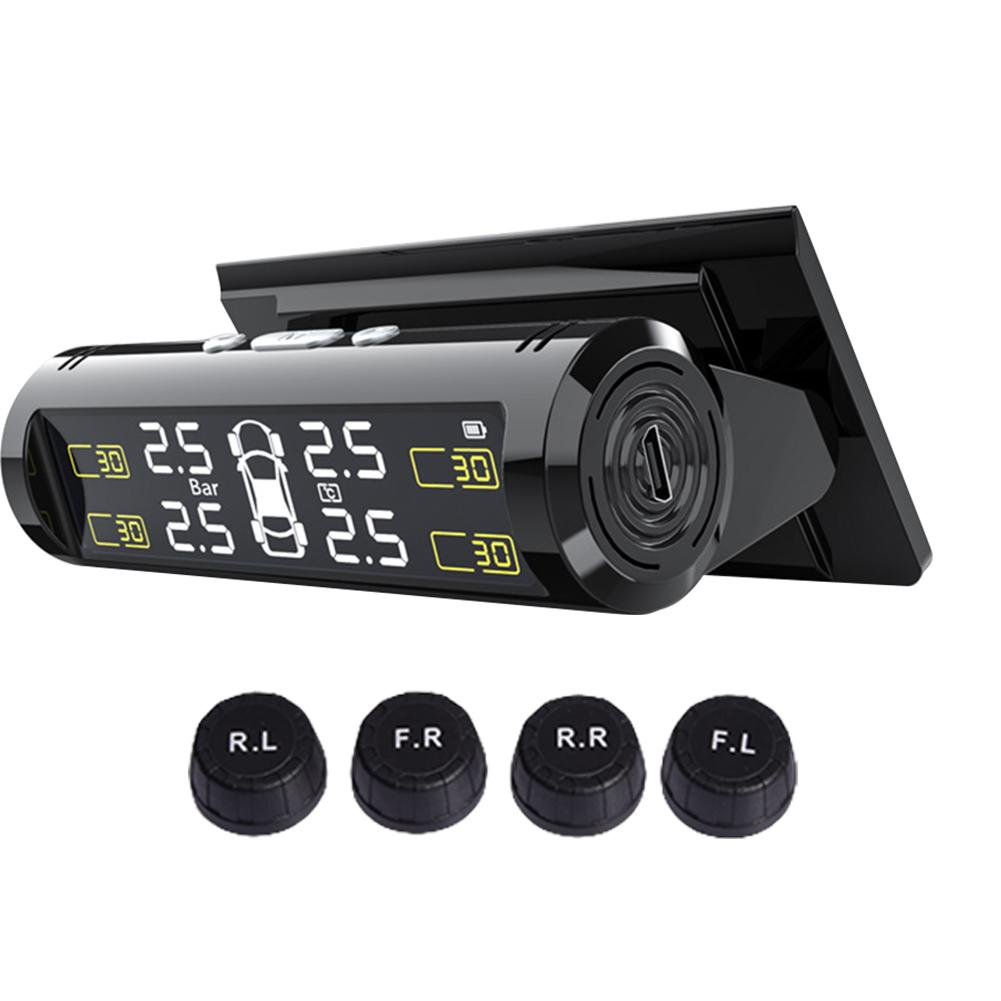 Solar Power TPMS Car Tire Pressure Alarm Monitor System Auto Security Alarm Systems Tyre Pressure Te