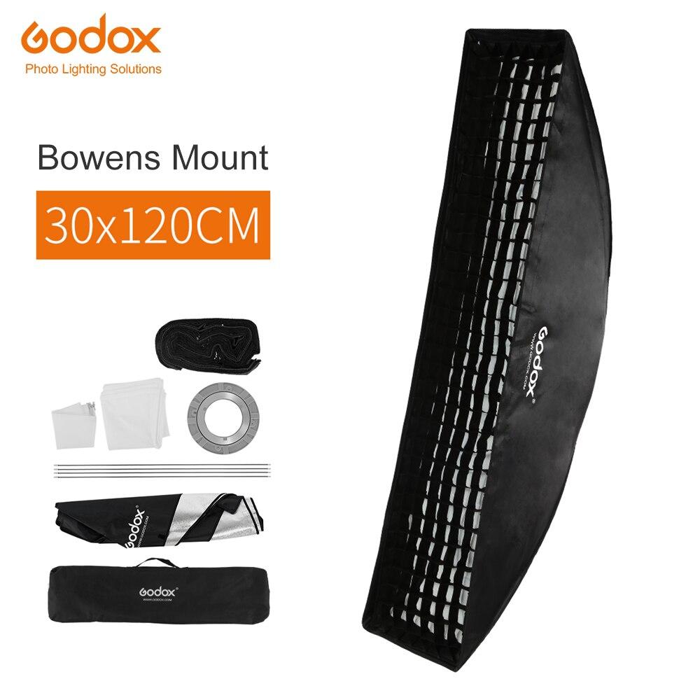 Софтбокс Godox 30x120 см, прямоугольная студийная Стробоскопическая лента для крепления Bowens с сотовой сеткой, диффузор для студийного стробоско...