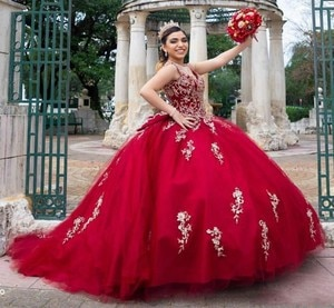 Charming Red Lace Beaded Crystals Quinceanera Dresses Red Tulle Backless Tulle Ball Gown Party Sweet 16 Dress
