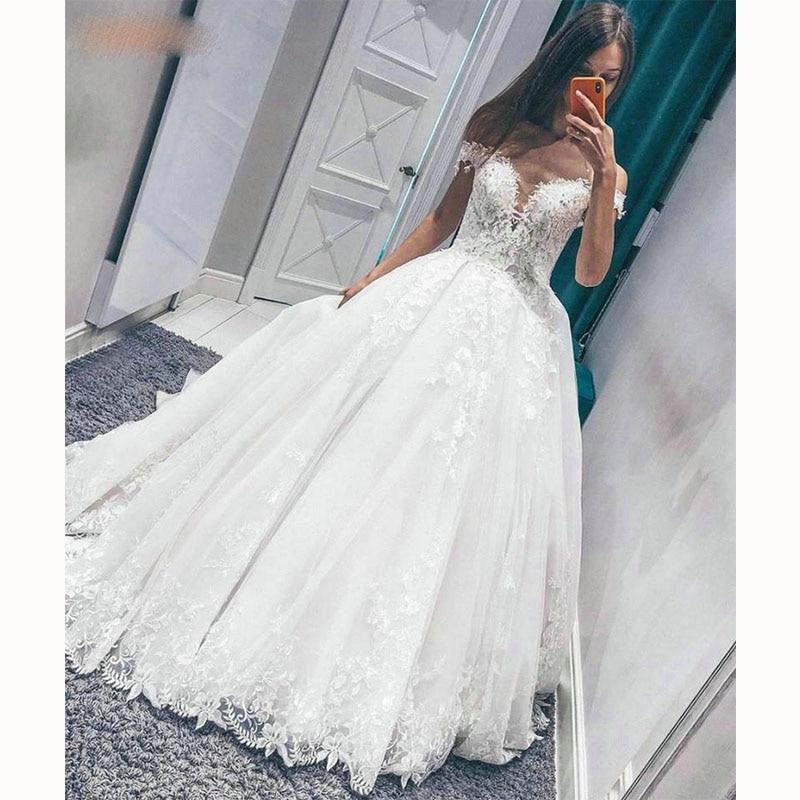 Apliques de encaje vestidos de novia fuera del hombro vestido de bola tul Vestido largo de novia bata mere de la mariée 2020