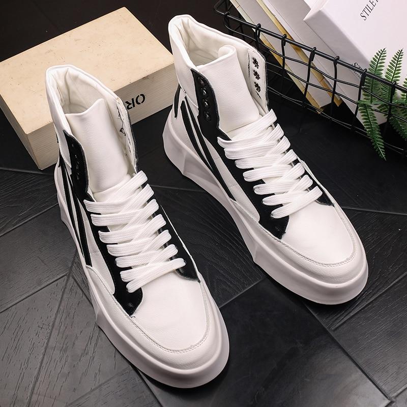 كل مباراة أحذية رياضية للرجال حذاء كاجوال 2021 خريف جديد عالية الجودة جلد حذاء أبيض نجمة أحذية مخطط سميكة سوليد أحذية رجالي