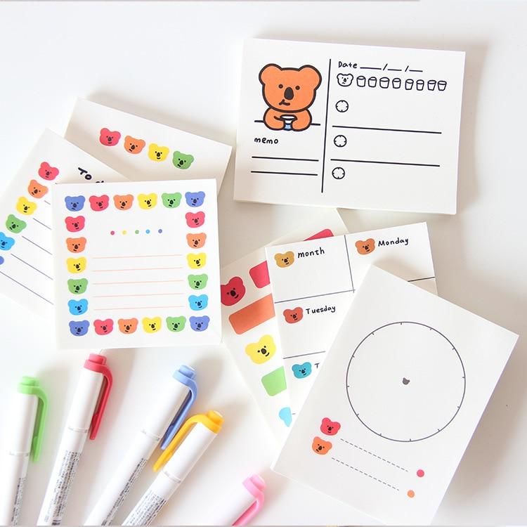 SIXONE 50 листов Ins Rainbow Koala Memo Pad школьные студенты, чтобы сделать список портативный еженедельник наклейки Kawaii Diy Канцтовары
