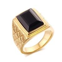 keisha lena men black stone signet rings stylish rhombus design male ring gifts jewelry