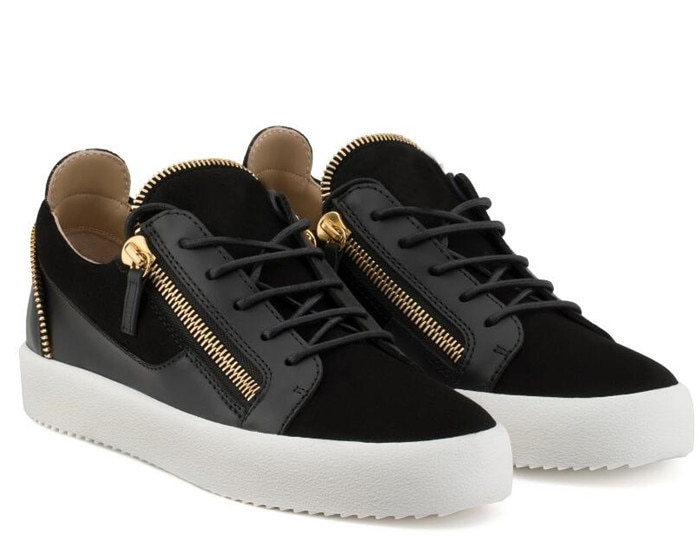 Young egle-أحذية رياضية جلدية للرجال ، أحذية رياضية عالية الجودة للرجال باللون الذهبي والأسود مع سحاب ، أحذية رياضية عصرية بمقدمة مستديرة
