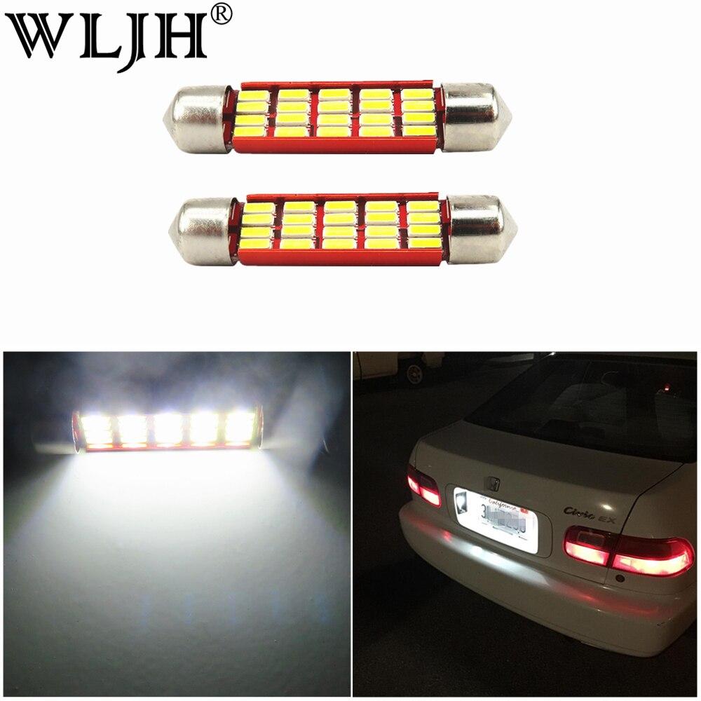 WLJH 2x luz blanca de coche 39mm LED festón de cúpula de CANbus sin Error Led 239 272 SV8.5 bombilla luces interiores maletero número placa lámpara de coche
