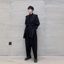 Men Loose Casual Harem Bib Pant Japan Man Women Fashion Dark Black Streetstyle Hip Hop Gothic Ankle Length Pants Stage Clothing