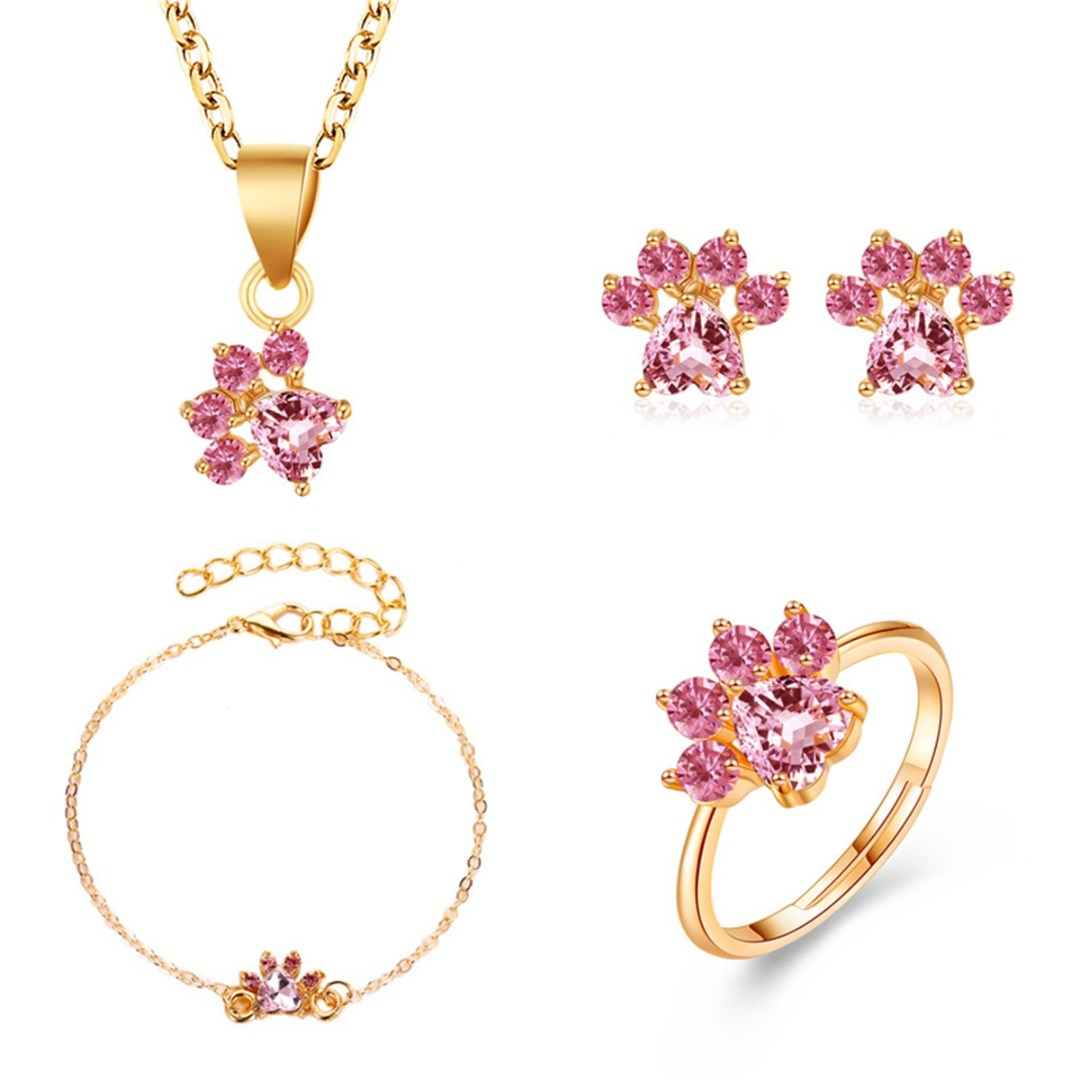 Cristal hermoso gato pata nupcial boda conjunto de joyería oro rosa ColorZircon anillo pendiente collar pulsera conjunto mujeres joyería de moda
