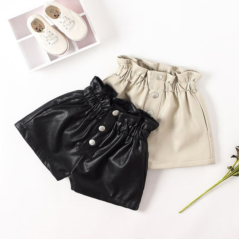2020 New autumn winter Kids faux leather Shorts pants For Girls baby Princess Children 6 8 10 12 years