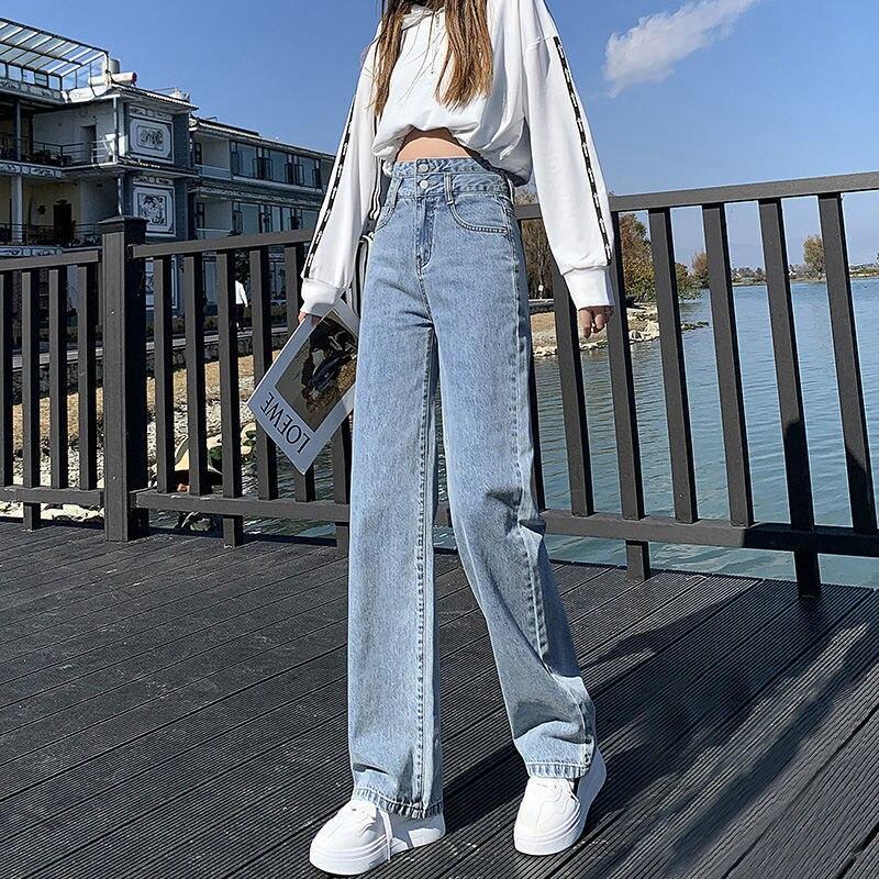 Модные повседневные женские джинсы Новинка весна-осень 2021 прямые свободные узкие светлые широкие брюки-трубы с высокой талией