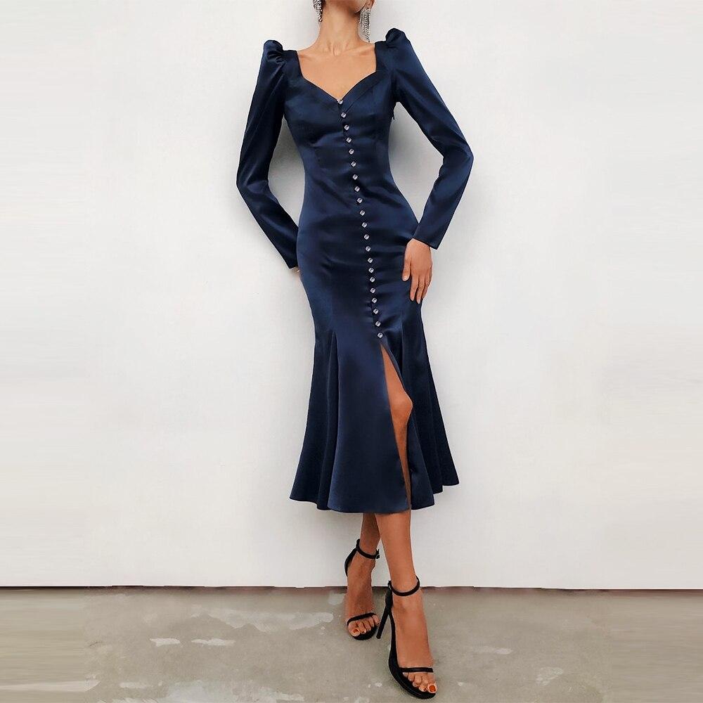Woman Dress 2021 Spring Elegant Sexy V-Neck Evening Party Long Dress Puff Sleeve Navy Blue Single-Breasted Mermaid Satin Dress