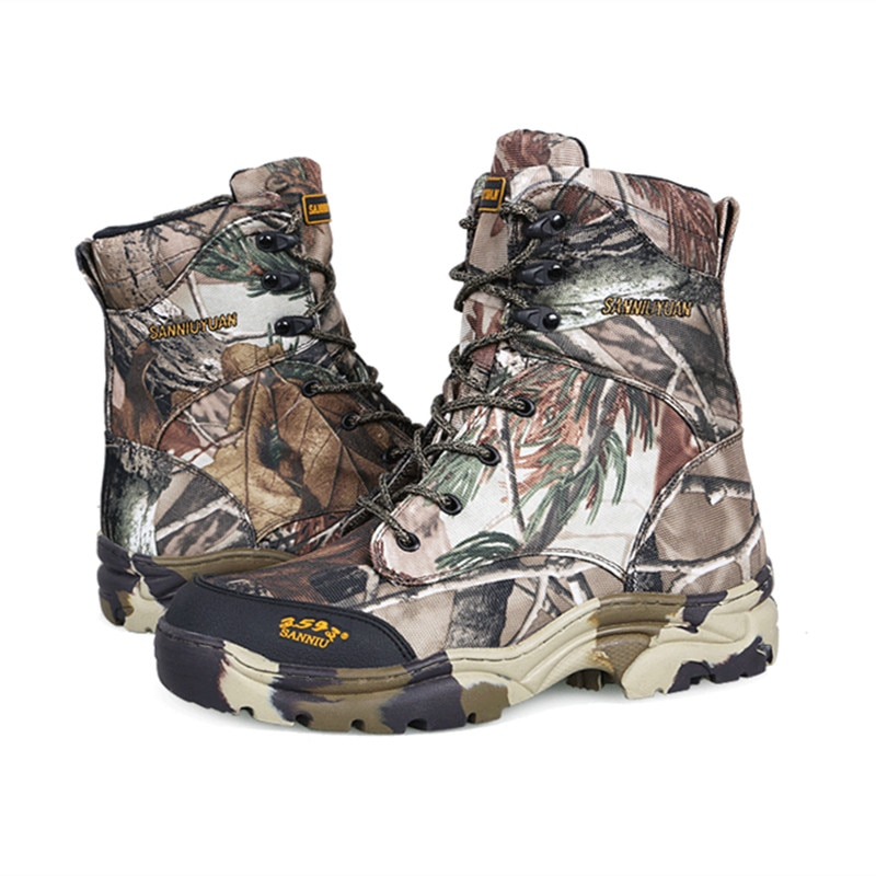 Homens ao ar livre selva deserto caminhadas à prova dwaterproof água folha biônico camuflagem botas finas primavera outono treinamento de caça tático sapatos altos