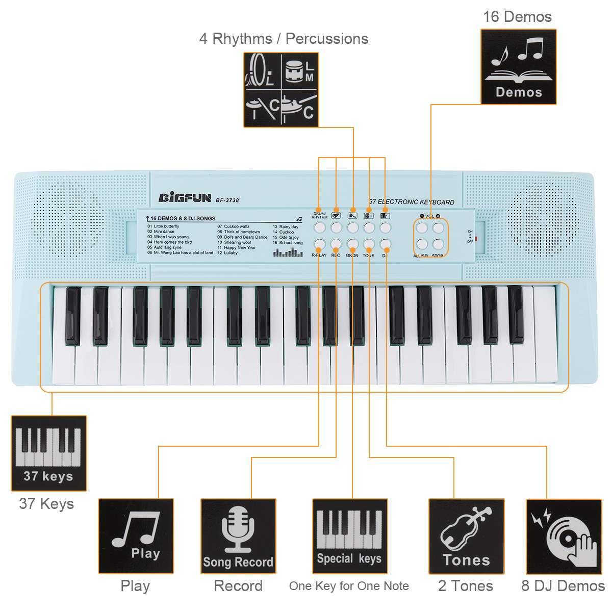 37 Keys Electronic Keyboard Piano Digital Music Key Board with Microphone Musical Enlightenment Pink and Blue 2 Colors Optional enlarge