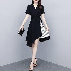 Новинка 2020, черное платье для женщин, летнее Полосатое платье с коротким рукавом, Корея, v-образный вырез, Женские Элегантные платья, офисное ...
