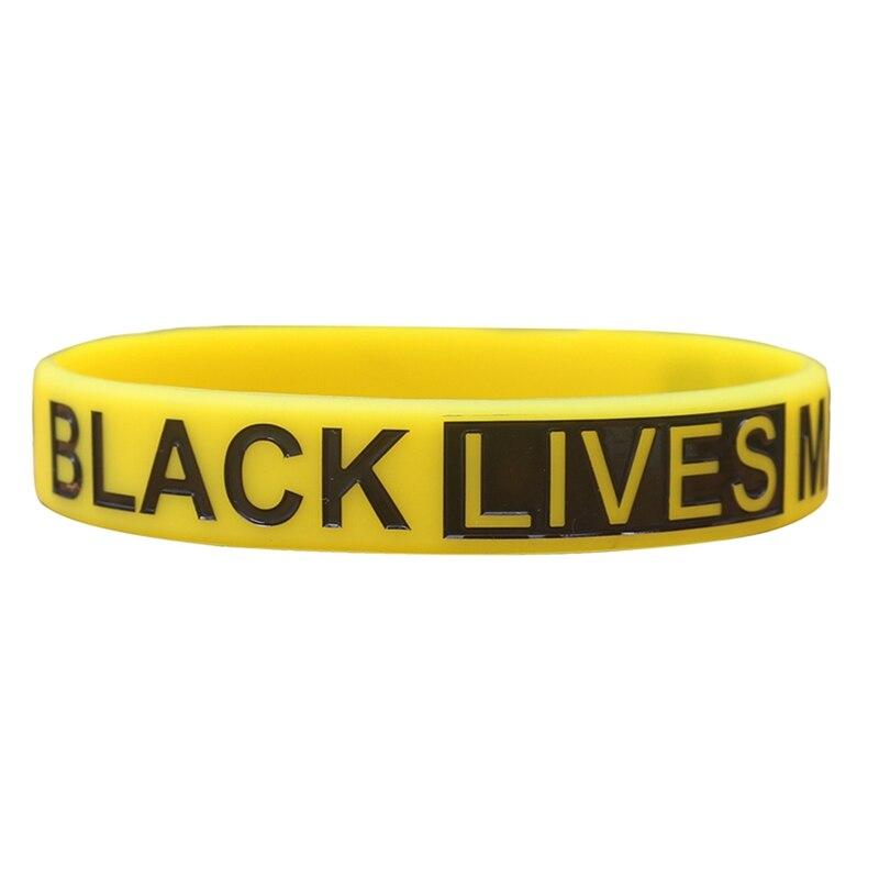 1 pulsera de silicona de Black Lives Matter pulsera y brazaletes de caucho de silicona amarillo