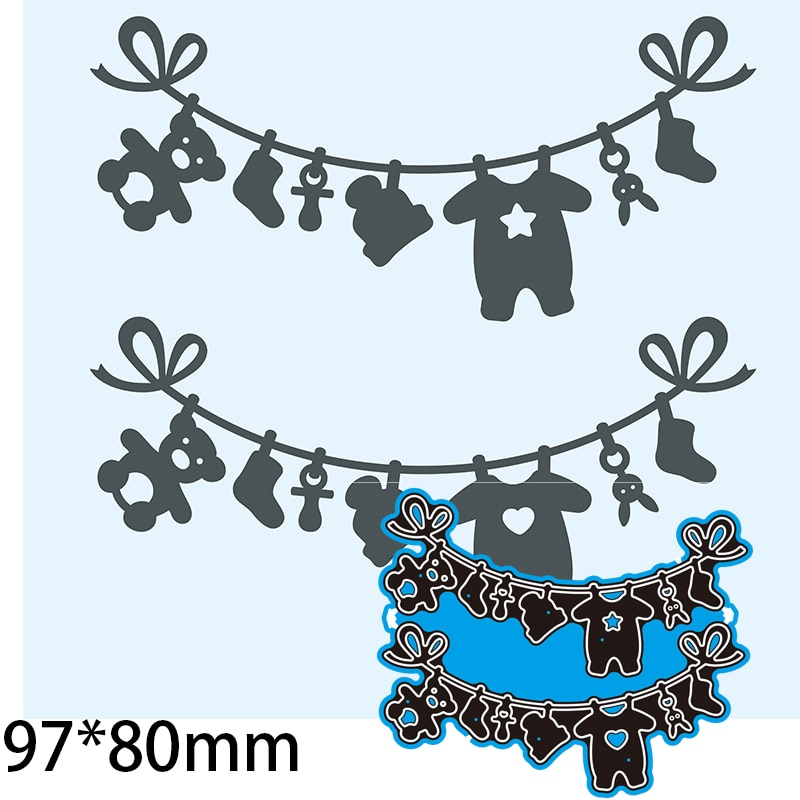 Cutting Dies Clothesline Clothes Toys DIY Scrap Booking Photo Album Embossing Paper Cards 97*80mm