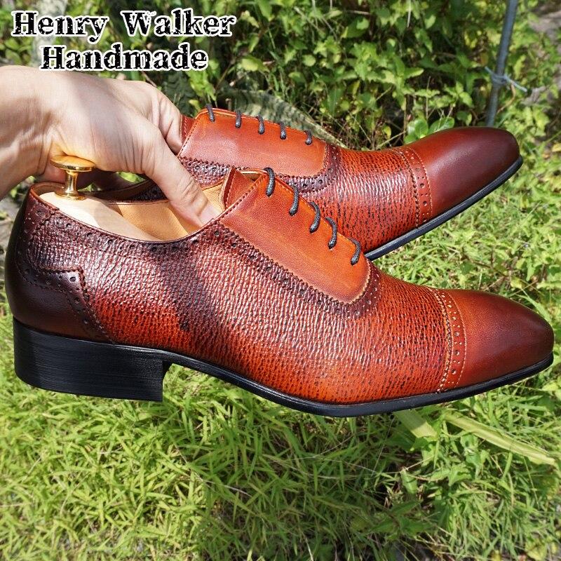 Luxury Designer Men Oxford Shoes Lace up Pointed Cap Toe Brown Black Mens Dress Shoes Crocodile Prints Genuine Leather Shoes Men