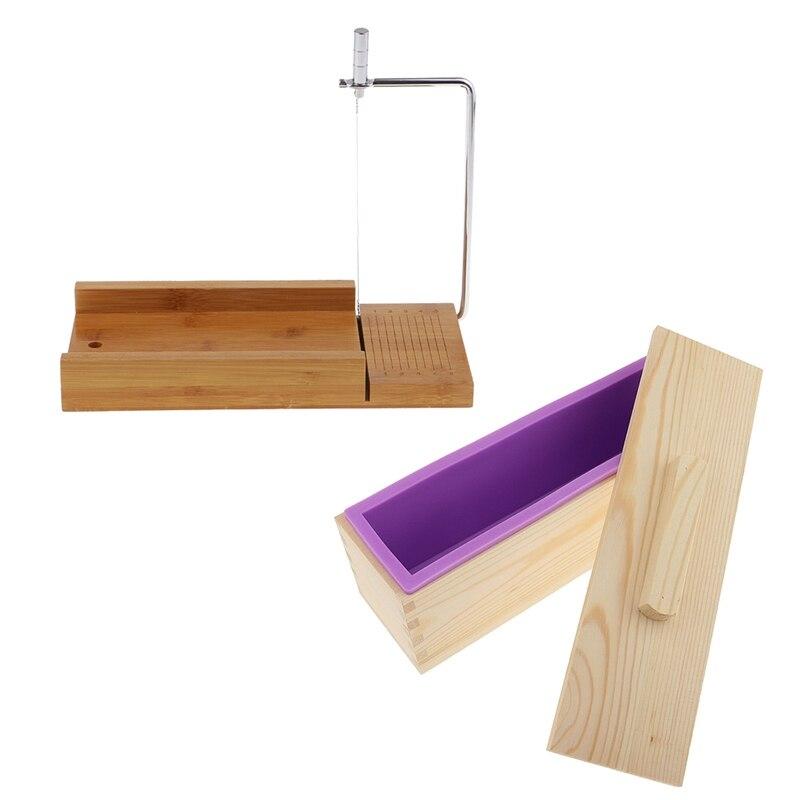 силиконовые формы форма для мыла силиконовая форма формы для мыла мыловарение Деревянная коробка, силиконовый кусок мыла плесень и нож для ...