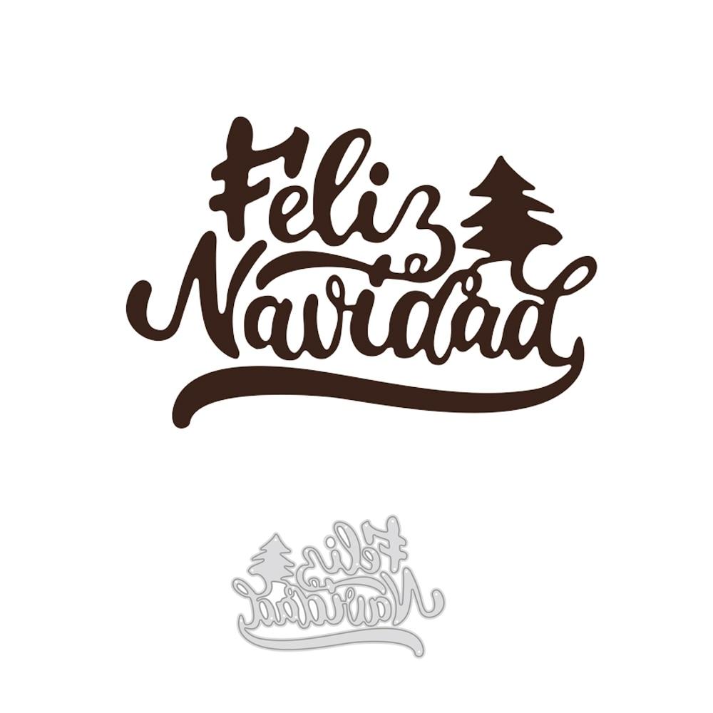 Plantilla de troquelado de Metal para árbol de Navidad, plantilla de palabras...