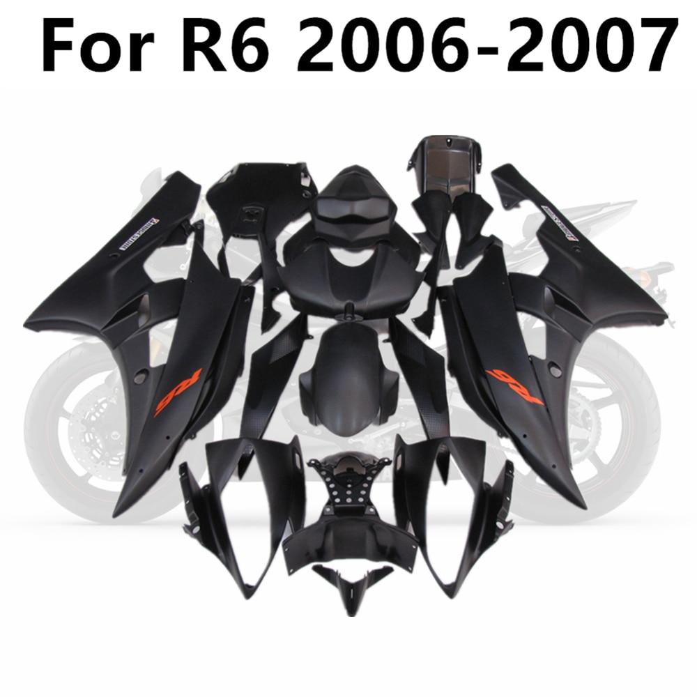 دراجة نارية لياماها R6 2006 2007 06 07 مجموعة هدايا كاملة YZF600 هيكل السيارة حقن ABS كل بلون أسود مطفأ اللمعة