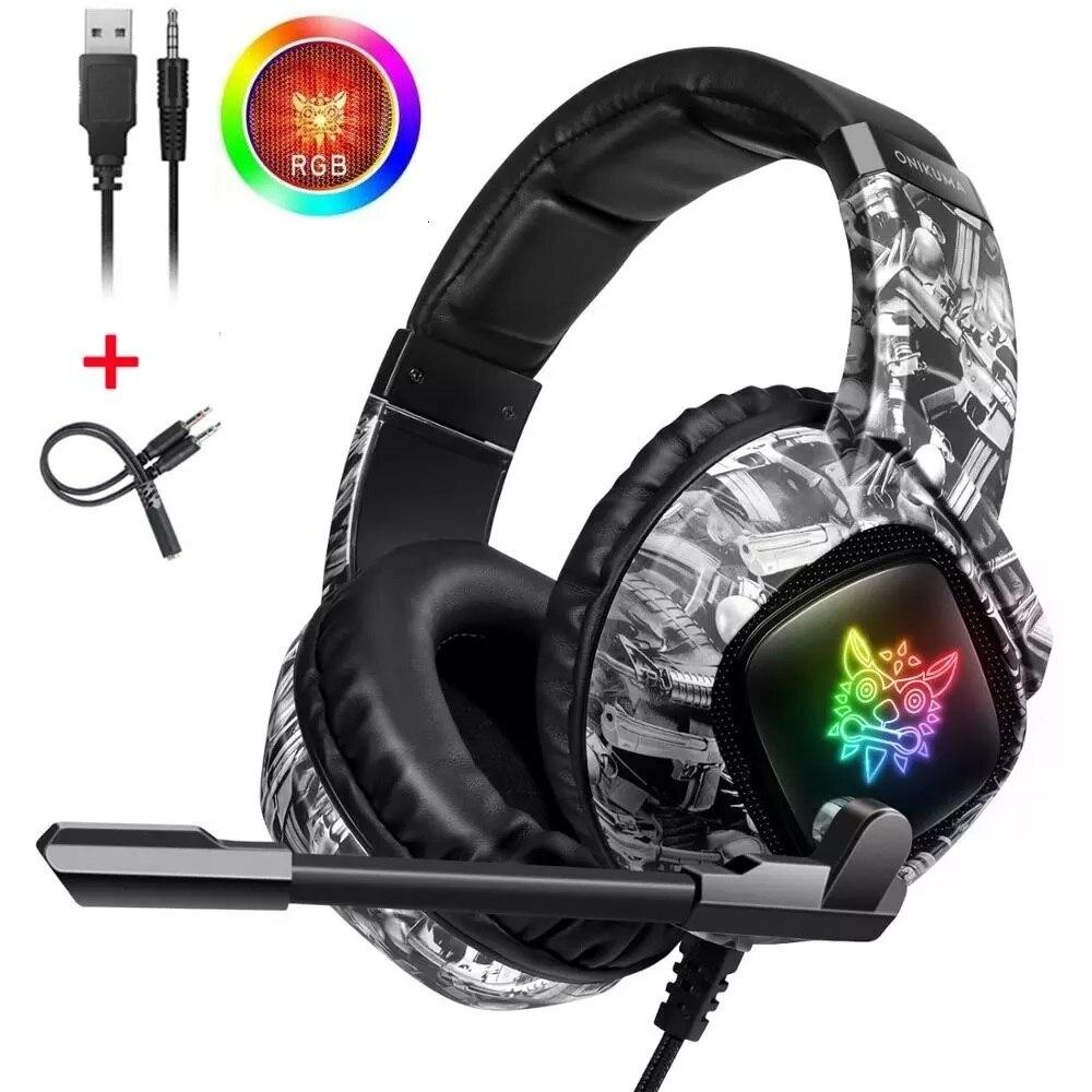 Fone de Ouvido para Xbox Fone de Ouvido com Cancelamento de Ruído Controlador de Volume Ps4 sobre Fones de Ouvido Jogos Microfone Tablet um Rgb