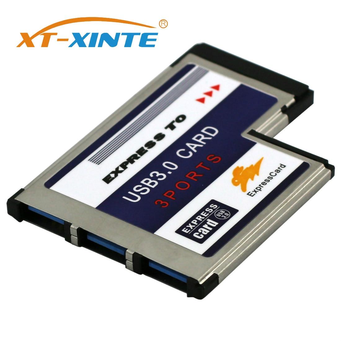 XT-XINTE ocultos dentro de 3 puertos USB 3,0 a Expresscard 54mm adaptador USB3.0 Convertidor para ordenador portátil PCMCIA Express