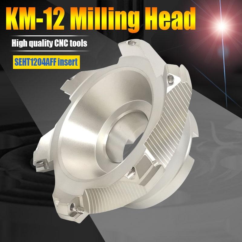 Cabezal de corte de fresado CNC KM12 50-22-4T KM12 63-22-4T KM12 80-27-5T 100-32-5T cabezal de herramienta de fresado de 45 grados SEKT1204