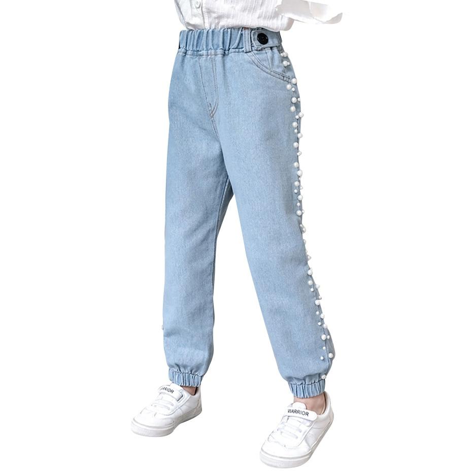 Джинсы для девочек, детские джинсы с жемчугом, демисезонные джинсы для девочек, Повседневная стильная одежда для девочек 6, 8, 10, 12, 14 Джинсы    АлиЭкспресс