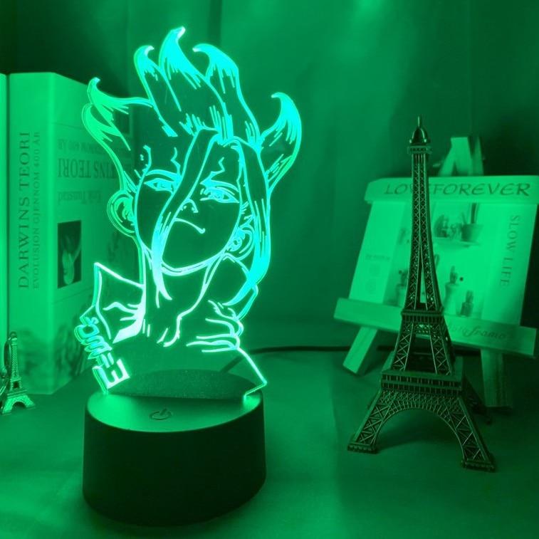 Dr.STONE FIGURE 3D Night Light 7 Color Changed STONE WORLD SENKU ISHIGAMI PVC Action Figure model Figurals