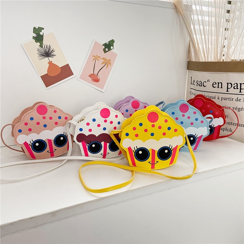 Kawaii Baby Girls Small Crossbody Bags PU Leather Cute Cake Children Coin Purse Handbag Boys Kids Mi