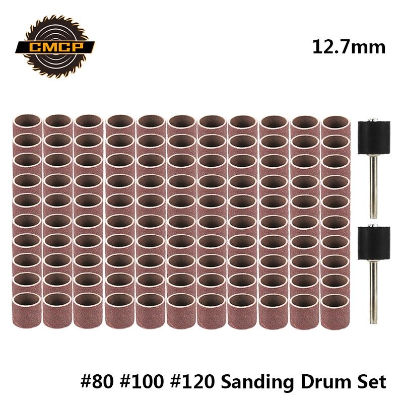 Sada brusného bubnu 12,7 mm zrnitost # 80 # 100 # 120 brusný pás pro objímky Dremel pro elektrické brusné trny pro malou úhlovou brusku
