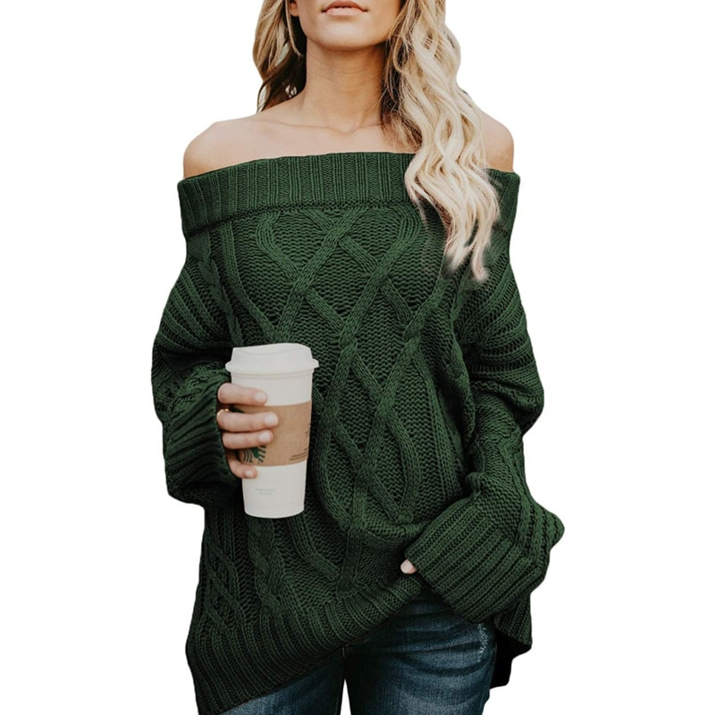 Women's Sexy Long Sleeve Off Shoulder Slash Neck Loose Knitted Pullover New 2020 Autumn Knitted Pullover Female Jumper Green new ins sexy off shoulder copper buckle knitted off shoulder top