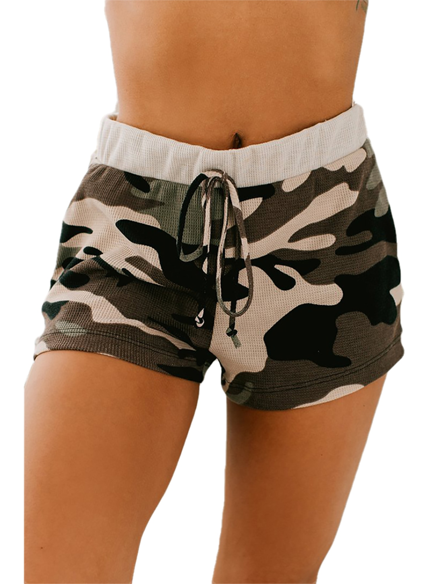 Women's Casual Style Shorts Camouflage Printed Cotton Blend Lounge Shorts with Drawstring Ladies Elastic Mid Waist Short Pants men s camouflage style lace up slimming elastic shorts