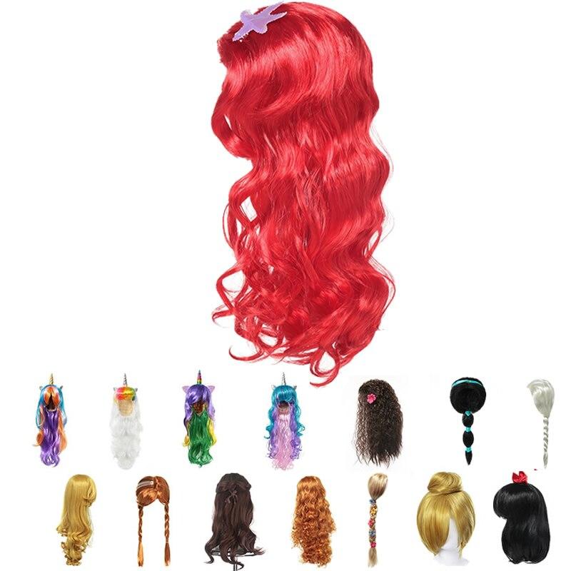 Фото - Girls Little Mermaid Red Wig Kids Elsa Anna Cosplay Long Hair Braid Aladdine Moana Unicorn Hair For Party mermaid with red hair