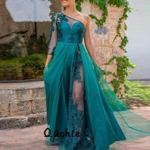 Emerald Green One Sleeve Slit Muslim Evening Dresses Illusion Dubai Arabic Saudi Arabian Evening Prom Dress Custom Made
