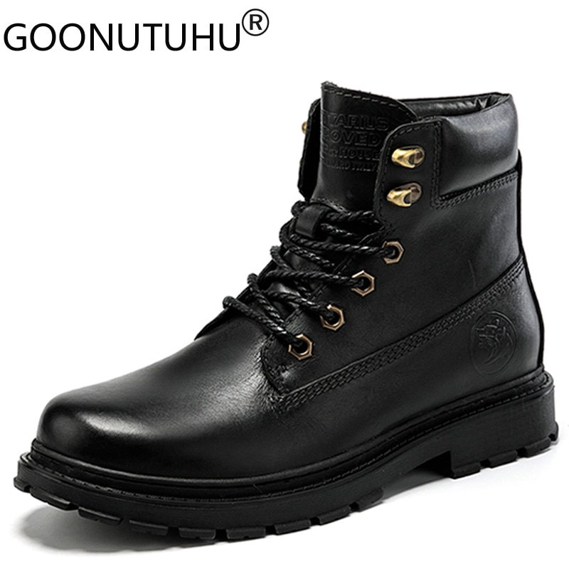 Men's Winter Boots Ankle Military Casual Genuine Leather Shoes Male Add Plush Motorcycle Boot Army Waterproof Snow Boots For Men