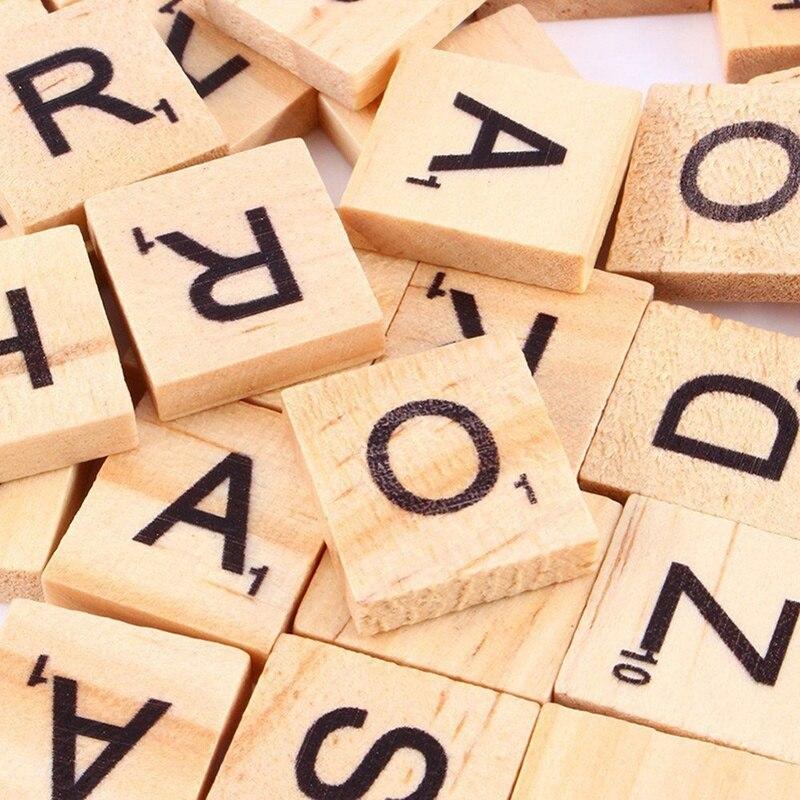 100 Pcs Holz Scrabble Fliesen Brief Alphabet Scrabbles Anzahl Handwerk Englisch Worte MU8669