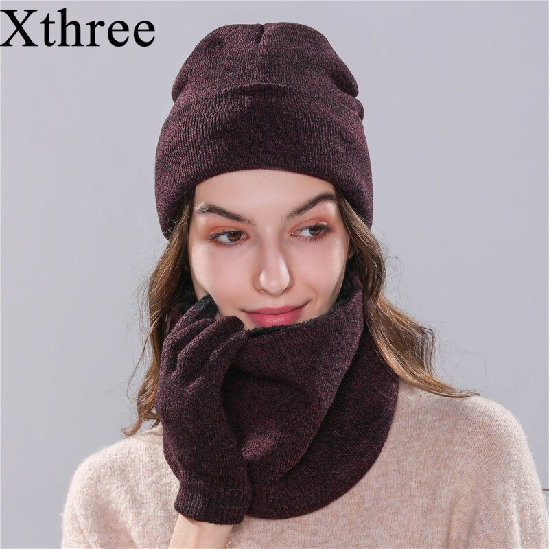 Xthree 2019 chapéu do inverno chapéu cachecol luva set para a menina das mulheres chapéu feito malha beanie inverno Gorro Skullies Gorros barato cap