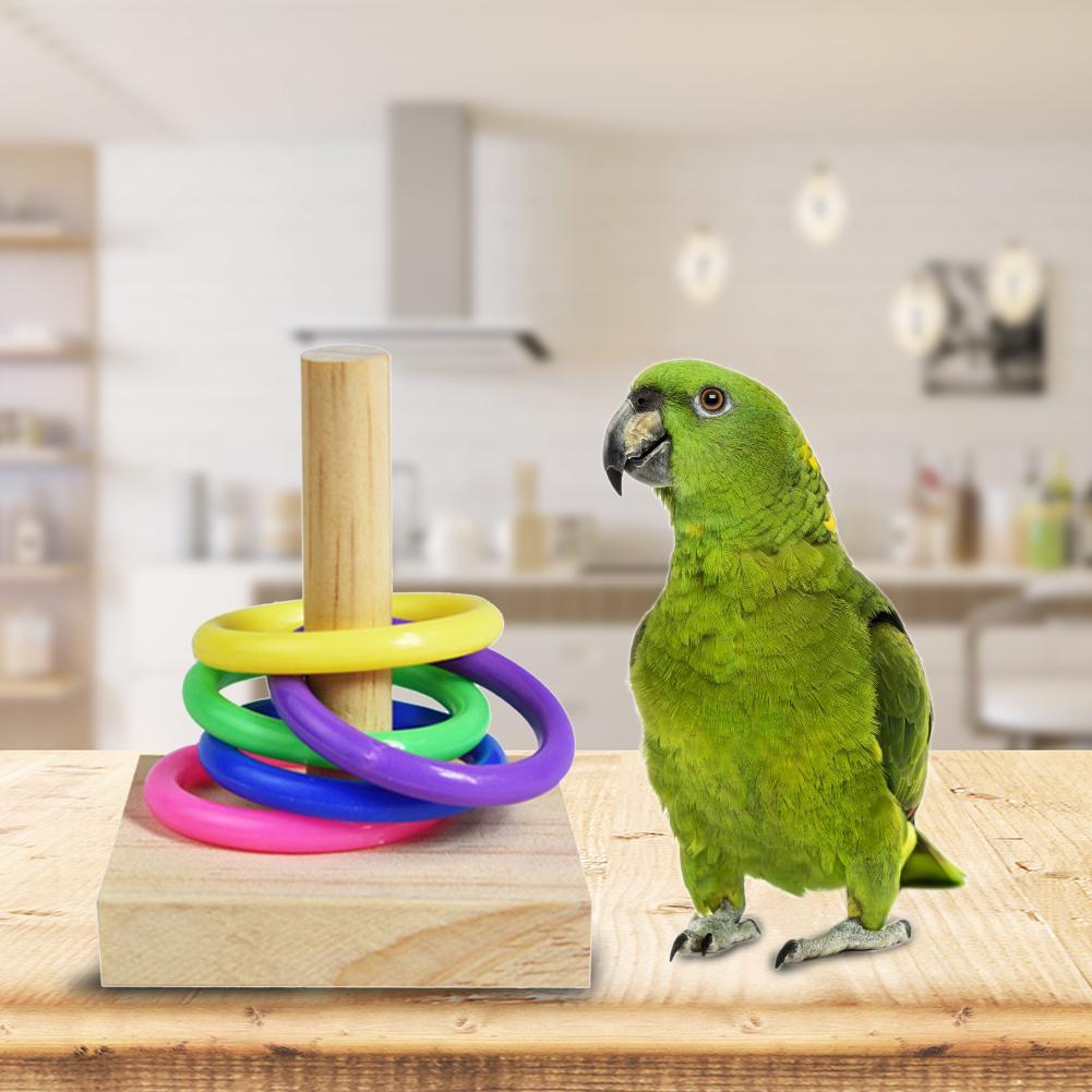 Anillo de madera para morder con forma de loro, juguete para morder, anillos con decoración de pájaros, periquito de juguete DIY, accesorios 1,16