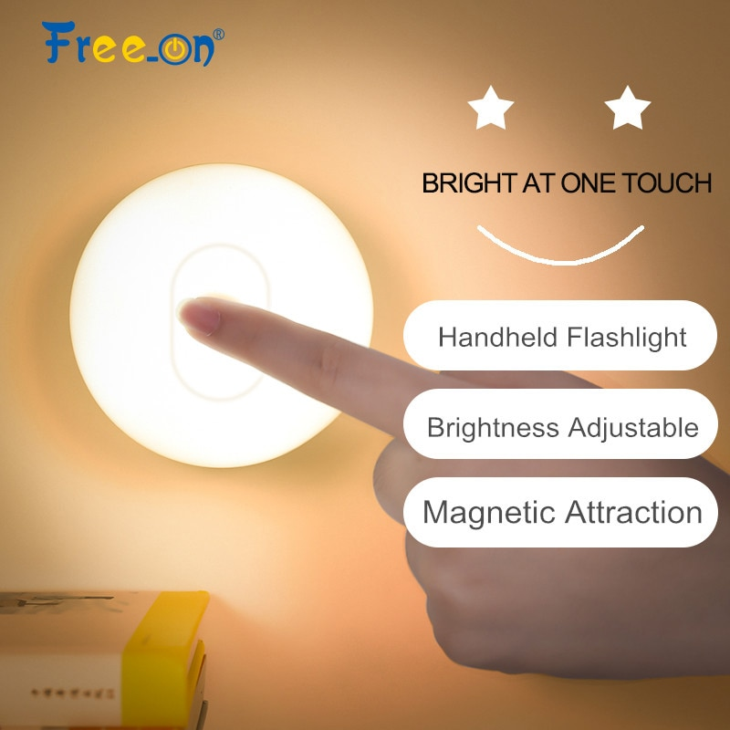 Магнитное основание круглый сенсорный Ночной светильник, светильник для вспышки, светодиодный домашний уличный декор, лампа для коридора, лампа для спальни, неполярное затемнение