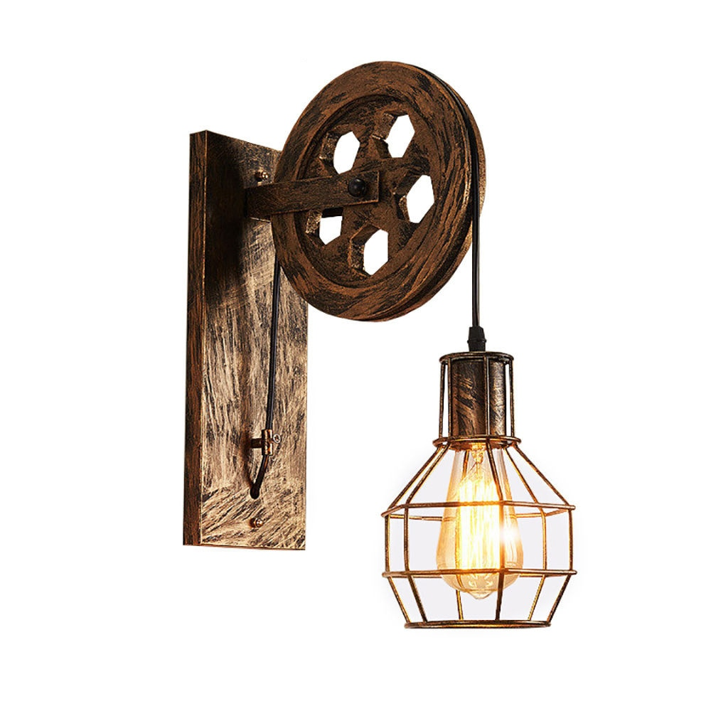 Vintage Industrial Black / Brown Brushed Wrought Iron Wheel Pulley Wall Lamp with E27 Edison Bulb for Bedroom Bedside
