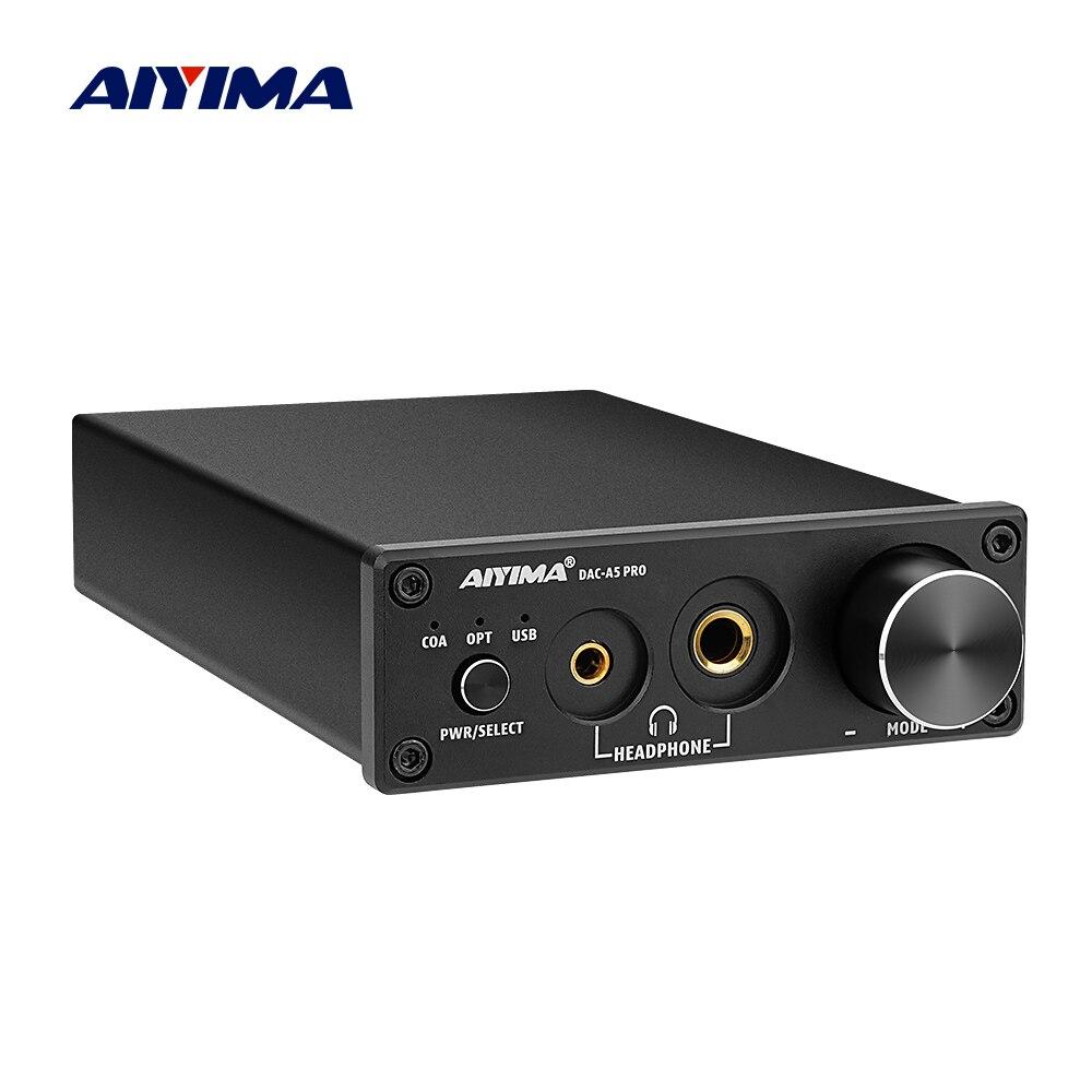 AIYIMA-minidecodificador de Audio estéreo DAC, Amplificador de auriculares USB, adaptador Digital a...