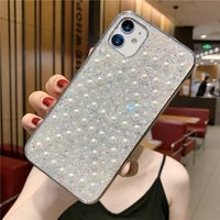 luxury simple 3d pearl shiny bling diamond glitter phone case for iphone 12 pro max 12mini iphone se 2020 case cover