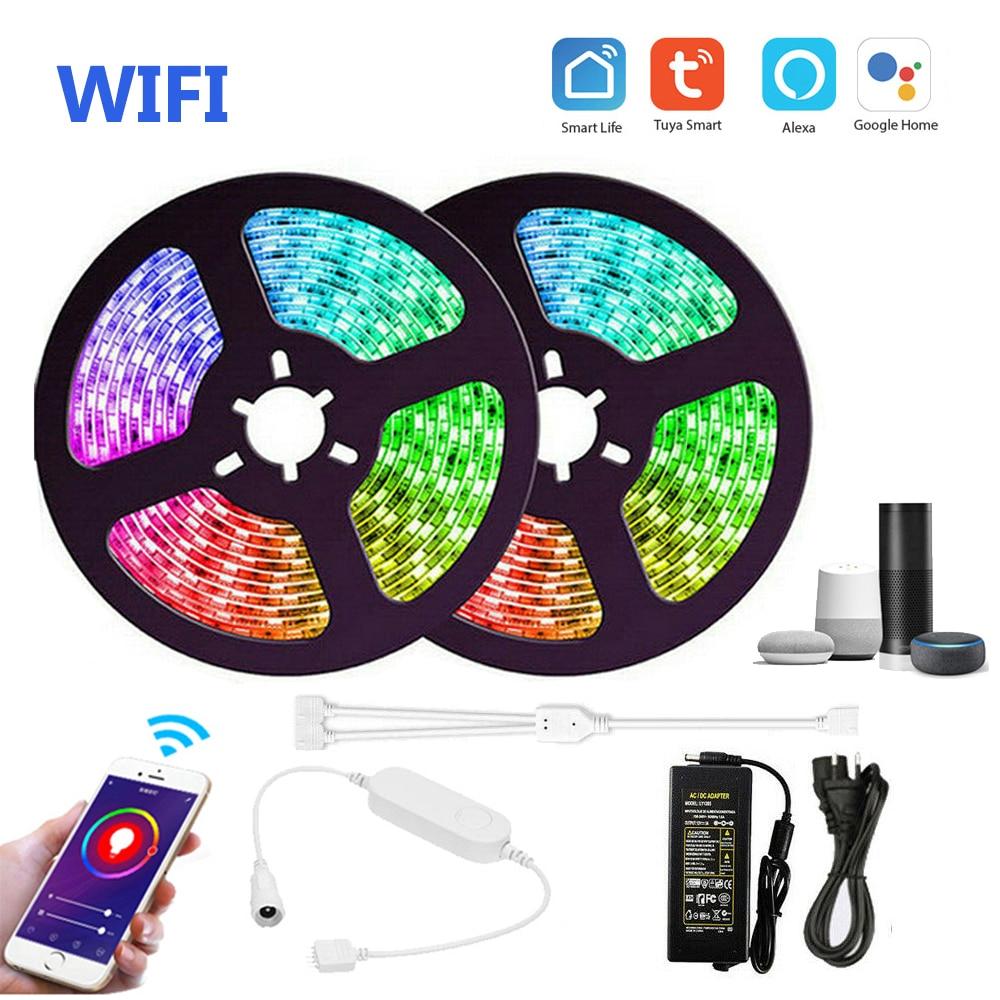 5m 10m WIFI RGB RGBW RGBWW Led قطاع SMD5050 عكس الضوء ضوء + تويا البسيطة تحكم + DC12V الطاقة صدى زائد جوجل المنزل التحكم الصوتي