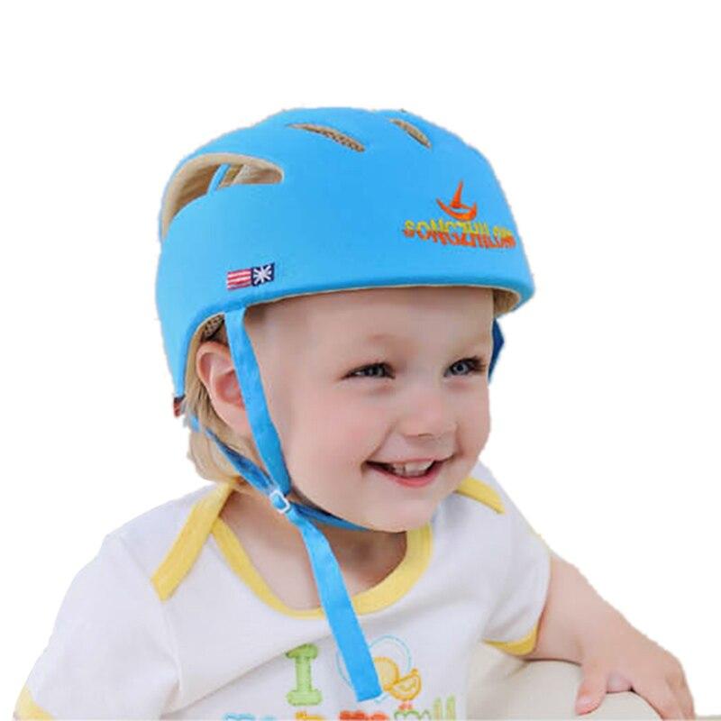Moda qualidade bebê crianças caps safty para andar patinação protetor de cabeça tecido algodão ajustável capacete unisex bonés