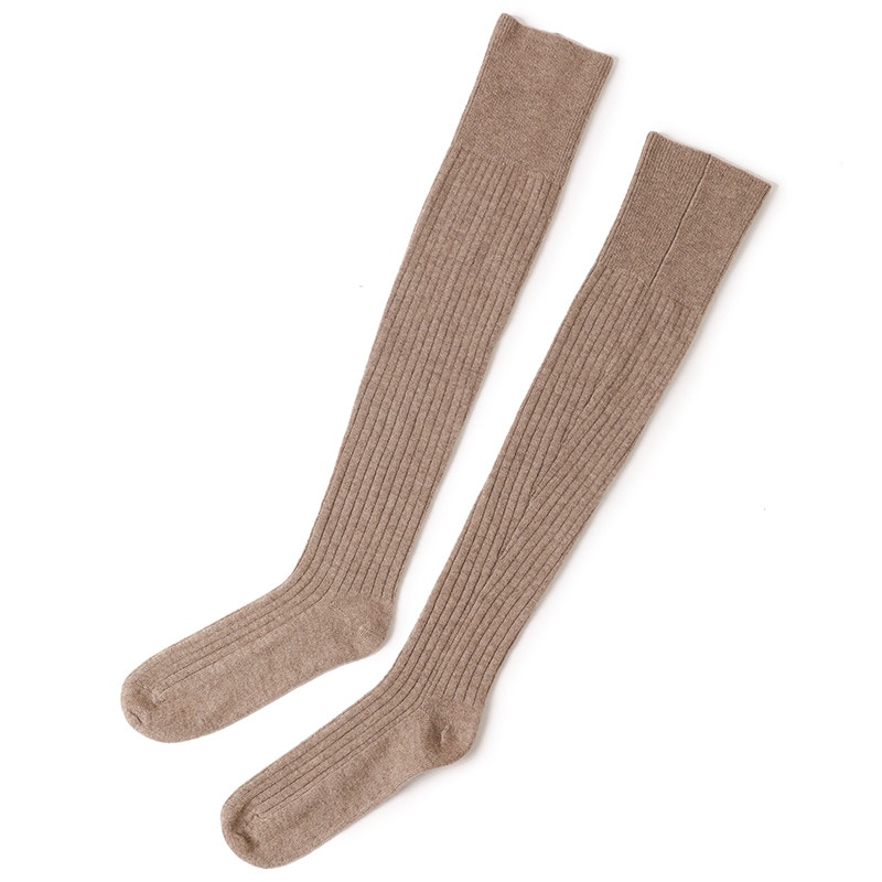 SHUCHAN 100% Cashmere Long Socks Women Knt Keep Warm Winter Stockings  Thigh Highs Solid  Thigh High  High Knee Socks