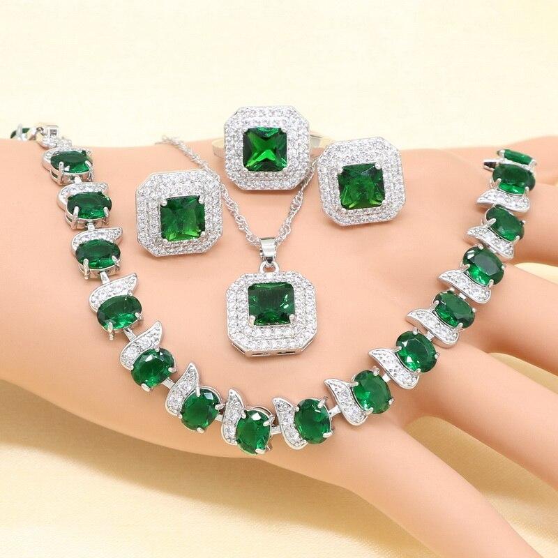 Серебряные Свадебные Ювелирные наборы для женщин зеленый имитация изумруд кристалл белый цирконий ожерелье кулон серьги кольцо браслет
