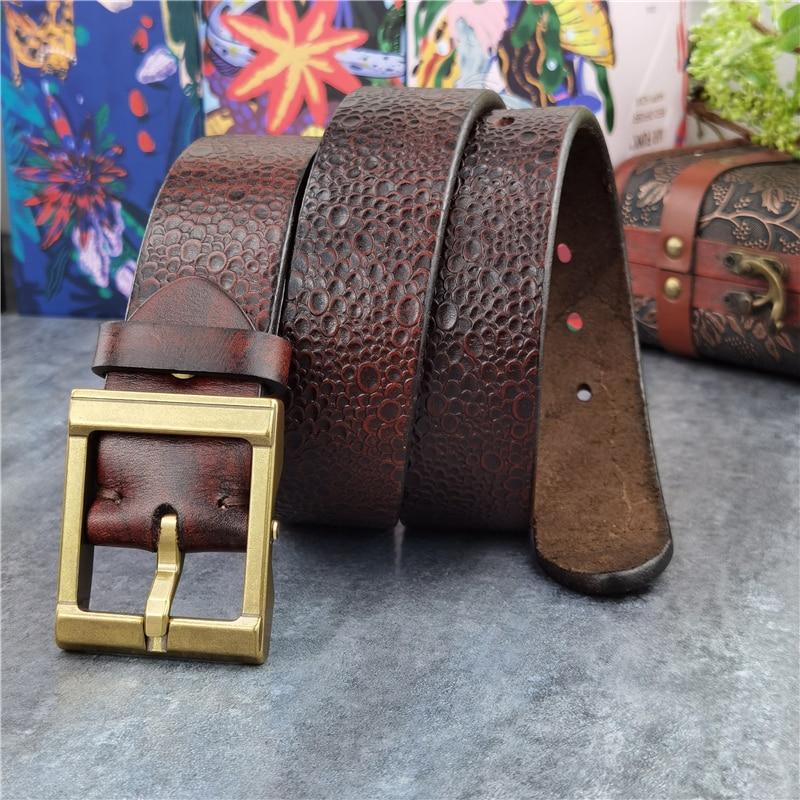 حزام جلد أصلي للرجال ، سميك للغاية ، فاخر ، مصمم ريترو ، مشبك نحاسي ، MBT0128
