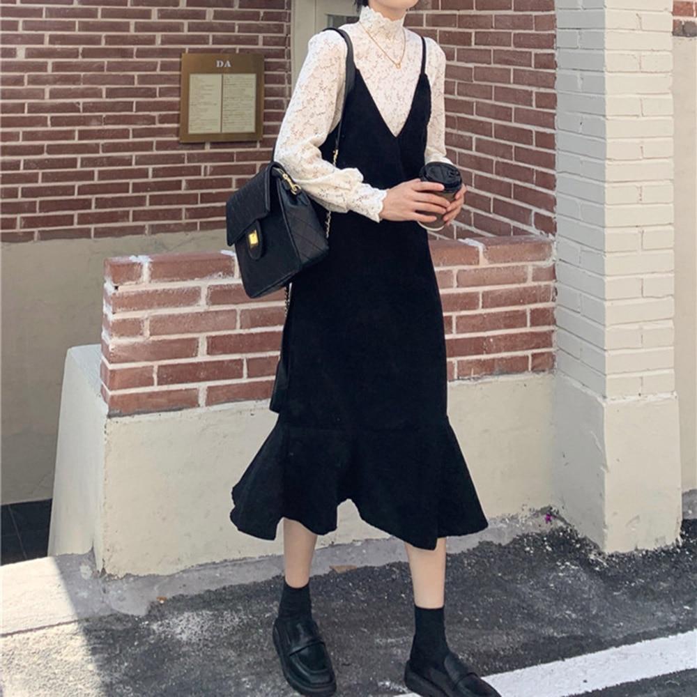 Jesienne ubrania damskie zestaw w stylu zachodnim słodka najniższa koronkowa koszula + Fishtail sukienka Sling długi Temperament moda dwuczęściowy garnitur