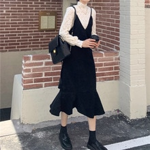 Autumn Women Clothes Set Western Style Sweet Bottoming Lace Shirt + Fishtail Sling Dress Long Temper