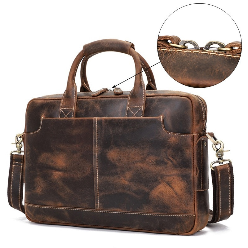 Men Briefcases Shoulder Bags Genuine Leather Male Casual Hand Tote Large Capacity Travel  Laptop Bag